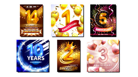 Anniversary Collection Promo Posters Set Vector. Inflatable Numbers, Air Balloons And Confetti On Anniversary Birth Different Advertising Marketing Banners. Style Color Concept Template Illustrations