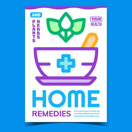 Home Remedies Creative Promotional Poster Vector. Plants And Herbs Green Leaves And Mortar Pestle Tool Advertising Banner. Natural Pharmacy Concept Template Style Color Illustration 矢量图像