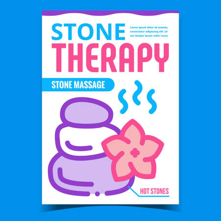Stone Therapy Creative Promotion Banner Vector. Relaxation Hot Stone Massage Advertising Poster. Body Relax And Health, Resort And Spa Salon Treatment Concept Template Style Color Illustration