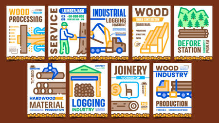 Logging Industry Creative Promo Posters Set Vector. Industrial Logging Machine And Lumberjack Service, Wood Process And Harvesting Advertising Banners. Concept Template Style Color Illustrations