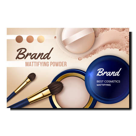 Mattifying Powder Creative Promo Banner Vector. Cosmetic Opened Blank Container, Crushed Powder Palette And Brush Advertise Poster. Facial Skin Care Accessories Style Color Concept Layout Illustration