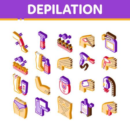 Depilation Procedure Icons Set Vector. Isometric Depilation Equipment Razor And Laser, Epilation Device For Cosmetology Treatment Illustrations