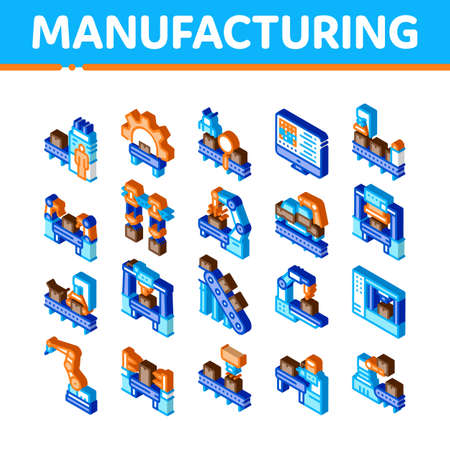 Manufacturing Process Icons Set Vector. Isometric Manufacturing Conveyor Car And Products, Factory Computer Settings And Robot Arm Illustrations 矢量图像