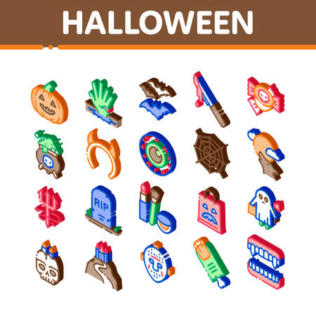 Halloween Celebration Icons Set Vector. Isometric Halloween Pumpkin And Bat, Ghost And Eye, Blood Knife And Candies, Castle And Cobweb Illustrations