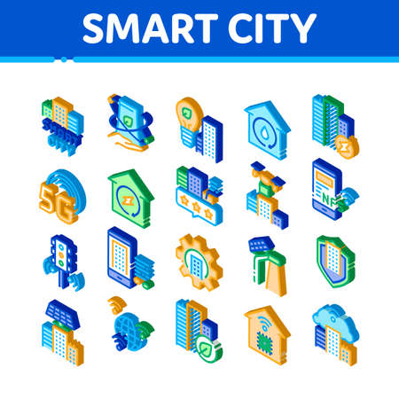 Smart City Technology Icons Set Vector. Isometric Smart City Tool Traffic Lights And Drone Delivery, Solar Battery And Eco Energy Plant Illustrations