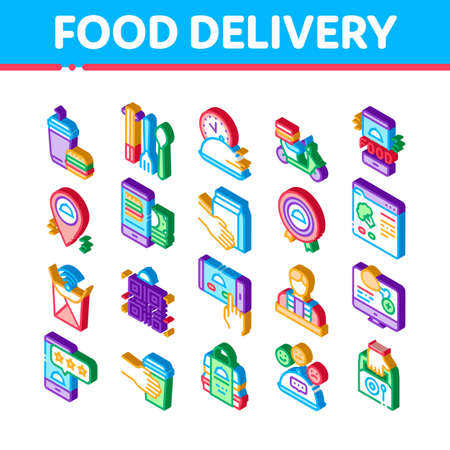 Food Delivery Service Icons Set Vector. Isometric Food Delivery Boy And Motorcycle, Online Order And Phone Application, Utensil And Nutrition Illustrations
