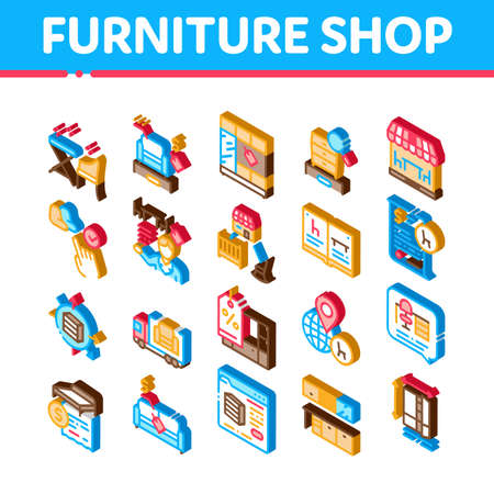 Furniture Shop Market Icons Set Vector. Isometric Furniture Table And Chair For Cafe, Couch And Bed, Internet Store And Catalog Illustrations