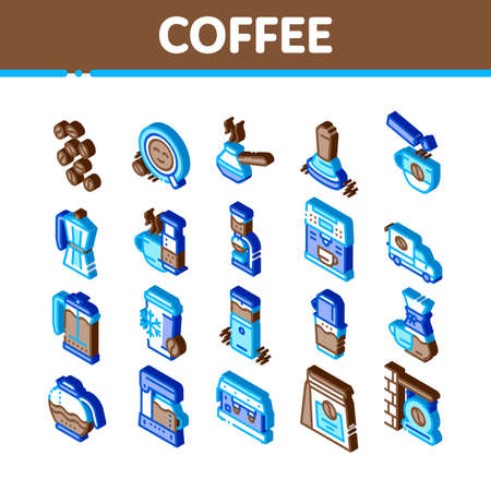 Coffee Energy Drink Icons Set Vector. Isometric Coffee Beans And Package, Grinder And Machine For Make Beverage, Cup And Pot Illustrations
