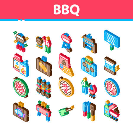 Bbq Barbecue Cooking Icons Set Vector. Isometric Bbq Fried Meat And Shrimp, Fish And Bacon, Utensil And Gas Lighter, Grid And Wood Stick Illustrations