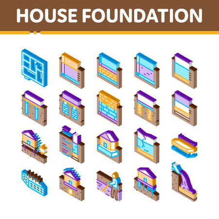 House Foundation Base Icons Set Vector. Isometric Concrete And Brick Building Foundation, Broken And Rickety Basement, Plan And Size Illustrations