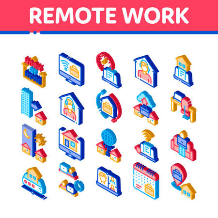 Remote Work Freelance Icons Set Vector. Isometric Work At Home, Internet Job And Online Consultation Operator, Teleworking And Conference Illustrations