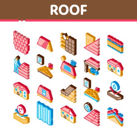 Roof Housetop Material Icons Set Vector. Isometric House Roof Waterproof And Temperature Heat Resistant Construction, Repair And Installation Illustrations 矢量图像