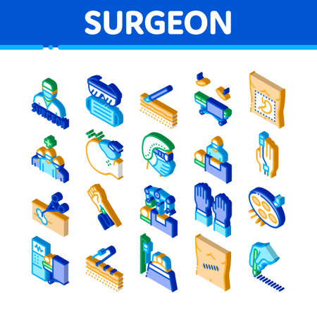 Surgeon Medical Doctor Icons Set Vector. Isometric Surgeon Facial Mask And Glasses, Scalpel And Forceps, Surgical Table And Lamp Illustrations 矢量图像