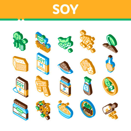 Soy Bean Food Product Icons Set Vector. Isometric Agricultural Harvester Harvesting On Farm And Milk Package, Soy Sauce Bottle And Plant Illustrations
