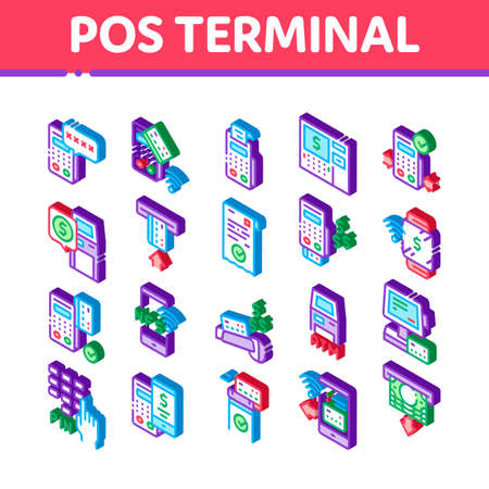 Pos Terminal Device Icons Set Vector. Isometric Bank Terminal And Atm, Smartphone Nfc Pay System Application And Watch Pin Code And Money Illustrations