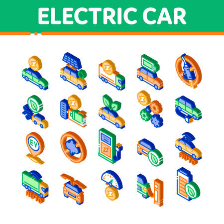 Electric Car Transport Icons Set Vector. Isometric Electrical Car And Truck, Battery Charging And Vehicle Repair, Ecology Transportation Illustrations 矢量图像