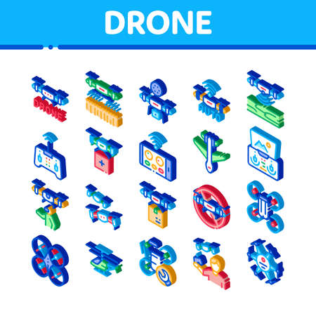 Drone Fly Quadrocopter Icons Set Vector. Isometric Drone Remote Control And Smartphone Application, Helicopter And Air Plane Illustrations