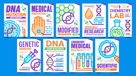 Biomaterials Creative Promotion Posters Set Vector. Biomaterials Research And Chemistry Lab Experiment, Dna Mutation And Gmo Advertising Banners. Concept Template Style Color Illustrations