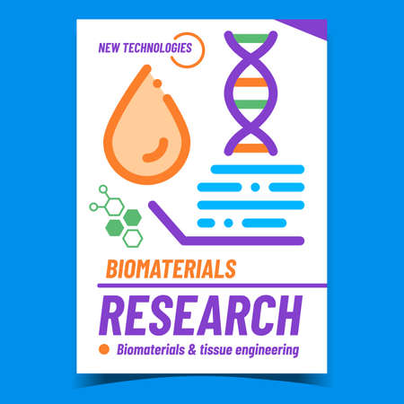 Biomaterials Research Creative Promo Banner Vector. Biomaterials And Tissue Engineering, Molecule And Blood Drop On Advertising Poster. Modern Technologies Concept Template Style Color Illustration 矢量图像