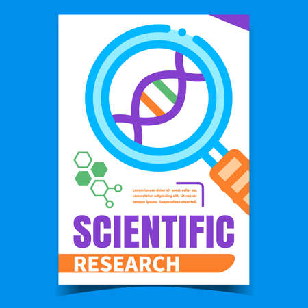 Scientific Research Creative Promo Banner Vector. Laboratory Scientific Magnifying Glass Tool Researching Dna Spiral Molecule Advertising Poster. Concept Template Style Color Illustration