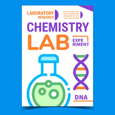 Chemistry Lab Experiment Promotion Poster Vector. Chemistry Research, Laboratory Flask With Chemical Liquid And Dna Spiral Molecule On Advertising Banner. Concept Template Style Color Illustration 矢量图像