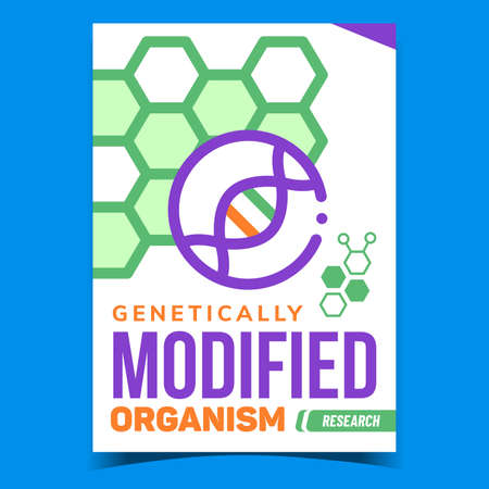 Genetically Modified Organism Promo Banner Vector. Gene Modified Research Advertising Poster. Gmo And Dna Molecule, Biochemistry Laboratory Test Experiment Concept Template Style Color Illustration