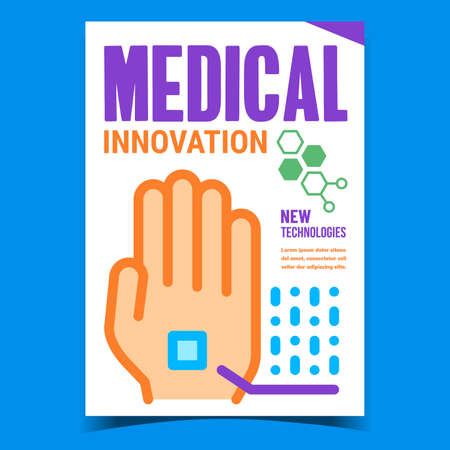 Medical Innovation Creative Promo Poster Vector. Medical Modern Technology, Chip In Human Hand On Advertising Banner. Medicine Digital Healthcare Concept Template Style Color Illustration