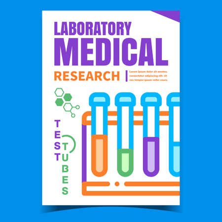 Laboratory Medical Research Promo Banner Vector. Laboratory Medicine Glass Test Tubes On Advertising Poster. Scientist Analyzing Flask Tool Concept Template Style Color Illustration