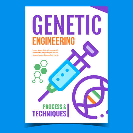 Genetic Engineering Creative Promo Banner Vector. Genetic Process And Techniques, Syringe Tool And Dna Molecule On Advertising Poster. Biotechnology Concept Template Style Color Illustration 矢量图像