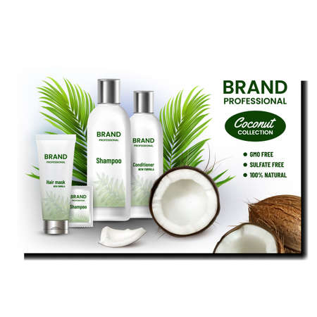 Coconut Cosmetics Set Promotion Banner Vector. Hair Mask Tube And Conditioner Blank Package, Shampoo Bottle And Sachet Professional Cosmetics Advertise Poster. Color Concept Template Illustration 矢量图像