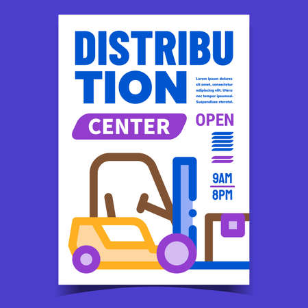 Distribution Center Creative Promo Banner Vector. Distribution Business, Forklift Vehicle On Advertising Poster. Warehouse Machine Lifting Boxes Equipment Concept Template Style Color Illustration