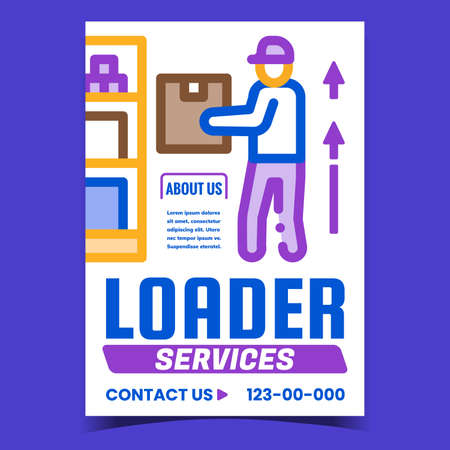 Loader Services Creative Promotion Banner Vector. Loader Worker Loading Cardboard Box On Warehouse Shelf Advertising Poster. Carrying Occupation Concept Template Style Color Illustration