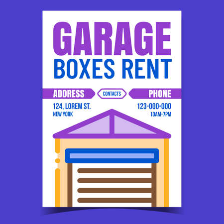 Garage Boxes Rent Creative Promotion Banner Vector. Garage Building With Metal Doors, Rental Business Advertising Poster. Construction For Storaging Concept Template Style Color Illustration
