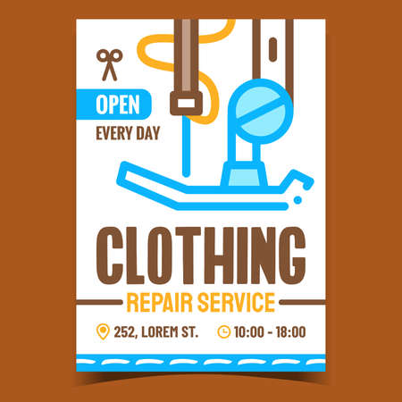 Clothing Repair Service Promotion Poster Vector. Clothes Fixing Tailor Service Business, Sewing Machine Equipment Detail On Advertising Banner. Concept Template Style Color Illustration