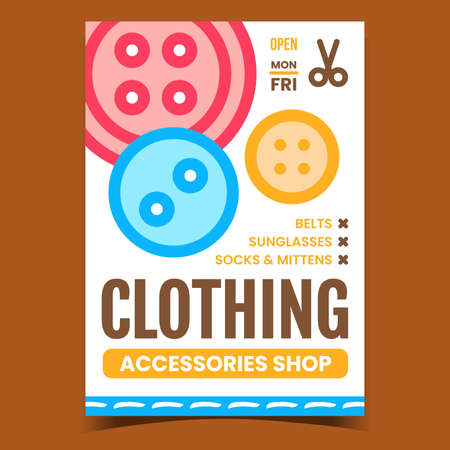 Clothing Accessories Shop Promotion Banner Vector. Belts And Sunglasses, Socks And Mittens Clothes Accessories Store On Advertising Poster. Concept Template Style Color Illustration