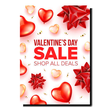 Valentines Day Sale Promotional Poster Vector. Valentines Holiday Shop Deals, Helium Balloons In Heart Form, Decorations And Golden Foil Confetti Advertise Banner. Style Concept Template Illustration