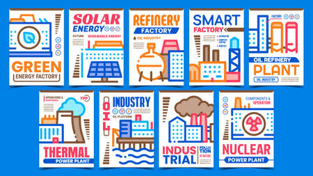Energy Factory Creative Promo Posters Set Vector. Green And Solar Energy, Refinery And Thermal Power Plant, Oil Platform And Industrial Building Advertising Banners. Template Style Color Illustrations