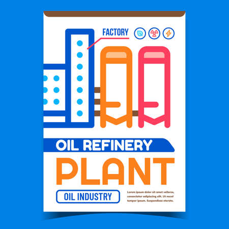 Oil Refinery Plant Creative Promo Banner Vector. Oil-refinery Plant Building And Tank Advertising Poster. Petrochemical Factory, Chemistry Liquid Manufacture Industry Layout Style Color Illustration
