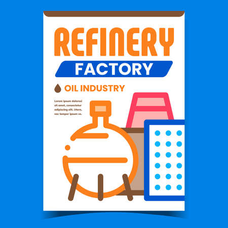 Refinery Factory Creative Promotion Banner Vector. Oil Industry Factory, Tank And Plant Building On Advertising Poster. Petroleum Production Concept Template Style Color Illustration