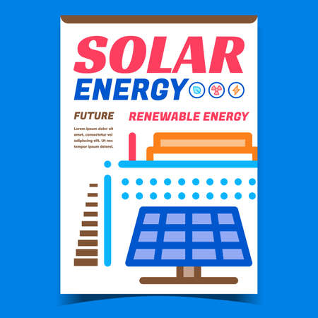 Solar Energy Creative Promotion Poster Vector. Solar Panel And Energetic Factory Building Advertising Banner. Alternative Renewable Power Electricity Concept Template Style Color Illustration