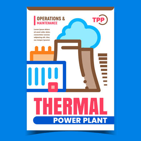 Thermal Power Plant Creative Promo Banner Vector. Thermal Energy Factory Construction And Building Advertising Poster. Operations And Maintenance Concept Template Style Color Illustration 矢量图像