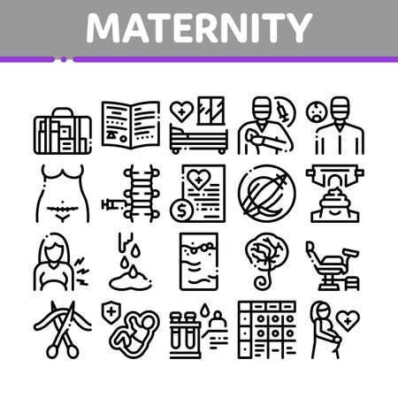 Maternity Hospital Collection Icons Set Vector. Hospital Prenatal Ward Generic Chair, Anesthesiologist And Obstetrician, Contractions PlacentaConcept Linear Pictograms Monochrome Contour Illustrations