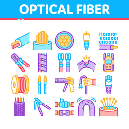 Optical Fiber Cable Collection Icons Set Vector. Fiber Repair Instrument And Electrical Device For Test Connection, Cord Roll Bobbin And Damaged Concept Linear Pictograms. Contour Illustrations