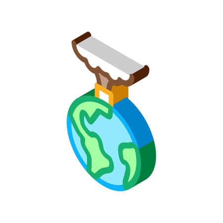 planet pollution icon vector. isometric planet pollution sign. color isolated symbol illustration