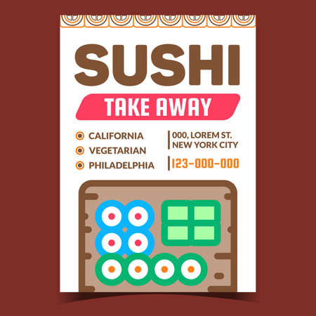 Sushi Take Away Creative Promotion Poster Vector. California, Vegetarian And Philadelphia Sushi Set, Restaurant Food Delivery Advertising Banner. Concept Template Style Color Illustration