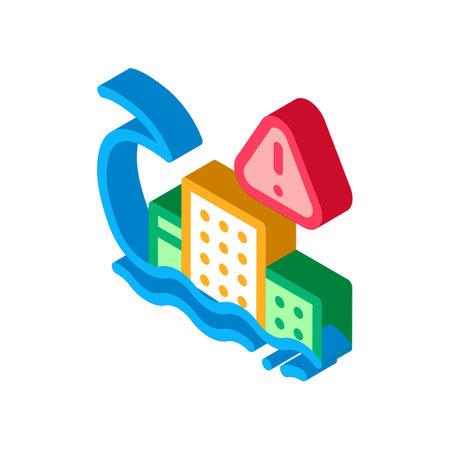 tsunami flood city icon vector. isometric tsunami flood city sign. color isolated symbol illustration