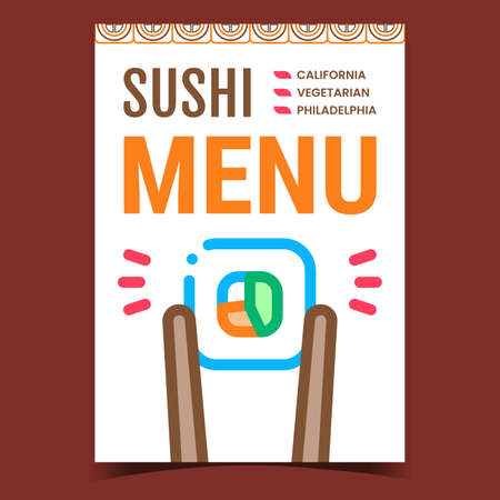 Sushi Menu Creative Promotional Poster Vector. California, Philadelphia And Vegetarian Asian Menu Advertising Banner. Stick Ware Hold Roll Rice And Ingredients Concept Template Style Illustration