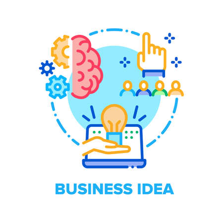 Business Idea Vector Icon Concept. Businessman Idea Thinking, Project Imagination And Organisation, Recruitment Workers And Human Resources, Team Briefing And Brainstorming Color Illustration