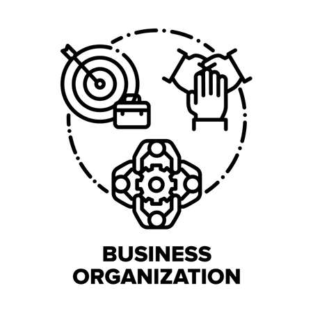 Business Organization Team Vector Icon Concept. Team Meeting And Briefing, Company Employees Working Process Organization And Corporate Occupation, Problems And Goals Discussion Black Illustration