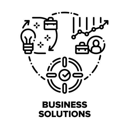 Business Solutions Strategy Vector Icon Concept. Business Idea And Realisation, Target, Strategy And Advice, Growth Profit And Financial Stability Vector Icon Concept. Black Illustration